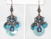 Mother of Pearl Chandeliers Earring with Rhinestones and Turquoise Beads