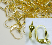 48 Leaver Back Gold-plated Brass 16mm Leverback with 5x5mm Heart and Open Loop. Pkg of 24 Pairs.