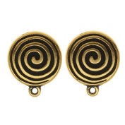 22K Gold Plated Pewter Spiral Clip On Earrings 17mm
