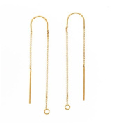 Gold Filled Ear Threads Threaders 7.6cm w/ Bridge & Loop