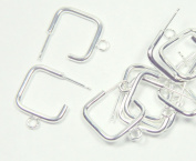 20 Earring, Silver-plated Steel and Stainless Steel, 22x22mm 3/4 Square with Loop. Sold Per Pkg of (10 Pairs) 20