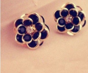 18k Gold Plated Classic Black Flower Shaped Metal Stud Earring with Austrian Artificial Diamond