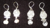 Set of 2 Earrings with Interchangable Hanging Fresh Water Pearls and Porcerlain Beads