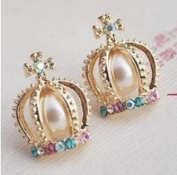 Crown Chaped Stud Earring with Colourful Crystal Artificial Pearl