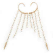 One Pair Long Dangle Cream Synthetic Pearl Bead Hook Cuff Earring In Gold Plating - 16cm Length