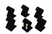 Regal Pak ® Six-Piece Black Velvet Curved Earring Stand 5.1cm X 5.4cm X 8.3cm H