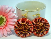 African Print Earrings -Jewellery Designer Made Of Ankara Fabric Patterns- Super Wax Material Clothing- Complements Your African Print Fashion, Dress, Attire, Skirt, Shoes, Bags, Tops, Bow Tie -For Teens And Women. Peach Wine. Satisfaction Guaranteed