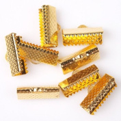 161446 Textured Golden Ribbon Bracelet Bookmark Pinch Crimp Clamp End Findings Cord Ends (100) 16x7mm