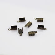 5 mm Antiqued Brass Foldover Cord Ends for Leather