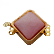 Rose Gold Plated 3 Rows Metal Diamond Shape Assorted Colour Dyed Agate Jewellery Clasp.