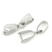 10 Pcs Pinch Clip Bail Beads Findings Silver Tone
