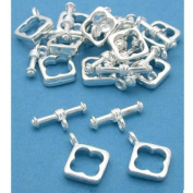 Square Toggle Clasps Silver Plated 13.5mm Approx 12