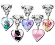 Housweety 20PC Mixed Glass Heart Dangle Beads Fit Charm Bracelets
