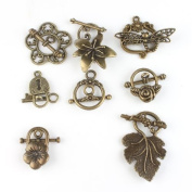 Mixed Eight Shapes Charms Antique Bronze Alloy Toggle Clasp Jewellery Findings?24pcs?