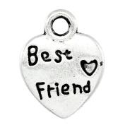 """Housweety 100 Silver Tone """"Best Friend"""" Love Heart Charm Pendants 12.5x9.5mm"""