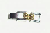 2 Tone Fold Over Clasp Extender 3.87mm Wide Silver Tone & Gold Plate