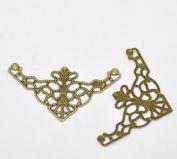 Housweety 50 Bronze Tone Filigree Triangle Wraps Connectors
