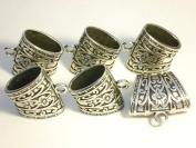 . 6pcs Fashion Jewellery Solid Alloy Scarf Tubes Bails Antique Silver Floral Jewellery Scarf Accessory D07480.