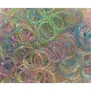 Loom Bands 600 Ct. GLITTER Random Rainbow Colour Rubber Bands [Includes S-Clips!]