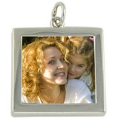 Large Silver Plated Square Double Sided 1 Inch Pendant - 24mm