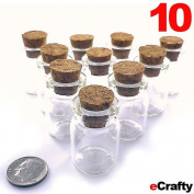 "Mini Glass Bottles Cork Top 1.2"" 30mm Tall 10pk Favours Weddings Crafts Storage"