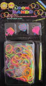 D.I.Y. LOOM BANDS Colourful 'NEON' SET w 300 RAINBOW Colours 'NEON' RUBBER BANDS (NO Latex), 3 CHARMS (Crown & 2 Hearts), CLIPS & TOOL