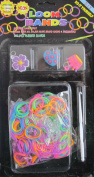D.I.Y. LOOM BANDS Colourful 'NEON' SET w 300 RAINBOW Colours 'NEON' RUBBER BANDS (NO Latex), 3 CHARMS (Purple FLOWER, Blue HEART & Pink CROWN), CLIPS & TOOL