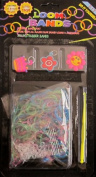 D.I.Y. LOOM BANDS Colourful 'GLITTER FINISH' SET w 300 MULTI Colour 'GLITTER FINISH' RUBBER BANDS (NO Latex), 3 CHARMS ('Smilie Face' FLOWER, Red FLOWER & CROWN), CLIPS & TOOL