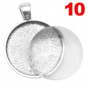 DIY Pendant KIT Makes TEN 2.5cm Round Bases + 2.5cm Glass Domes BRIGHT SILVER Jewellery