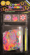 D.I.Y. LOOM BANDS Colourful 'NEON' SET w 300 RAINBOW Colours 'NEON' RUBBER BANDS (NO Latex), 3 CHARMS (Pink Crown, Red & White Flower & Purple Flower), CLIPS & TOOL