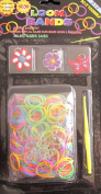 D.I.Y. LOOM BANDS Colourful 'NEON' SET w 300 Colourful 'NEON' RUBBER BANDS (NO Latex), 3 CHARMS (Red w/White & Blue FLOWER, Purple w/Yellow FLOWER & Red BUTTERFLY CHARM), CLIPS & TOOL