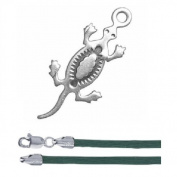 Gift Boxed Lizard Pendant with 46cm Green Satin Cord Sterling Silver Reptile Jewellery