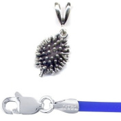 Gift Boxed Hedgehog Pendant with 41cm Blue Cord Sterling Silver Forest Animal Jewellery Set