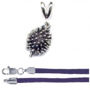 Gift Boxed Hedgehog Pendant with 41cm Purple Satin Cord Sterling Silver Forest Animal Jewellery Set