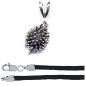 Gift Boxed Hedgehog Pendant with 41cm Black Satin Cord Sterling Silver Forest Animal Jewellery Set