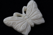Beautiful Happy Hand Carved Buffalo Bone Pendant With Sterling Silver Bail