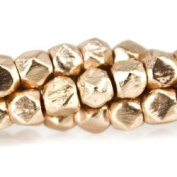 Rose Gold plated Copper Bead Faceted Nugget, Brushed 4mm