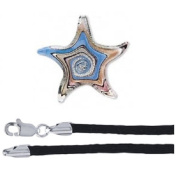 Gift Boxed Blue Glass Starfish Pendant with 46cm Black Satin Cord Sterling Silver Ocean Animal Jewellery Set