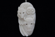 Buffalo-Wolf-Owl Union Hand Carved Buffalo Bone Pendant With Sterling Silver Bail