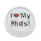 8x8mm I Love My Kids Enamel Round Floating Locket Charms-10pcs