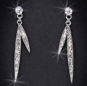 Crystal Rhinestone Earrings, 5.1cm Long, Crystal/Silver EAR-4003