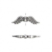 """Bead, antiqued silver-plated """"pewter"""" (zinc-based alloy), 23x6mm double-sided angel wings. Sold per pkg of10"""
