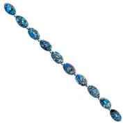Fiona 14 by 10mm Olive Shape Aqua Blue Collage Stone Beads Strand