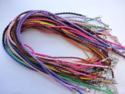 10pcs Mixcolor Braided Leather Necklace Cord 46cm W/extender ~Jewellery Making~