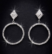 Crystal Rhinestone Earrings, 5.1cm - 0.6cm Long, Crystal/Silver NEC-4025