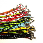 Moxx 10 Pcs Mixed Colour Braided Leather Necklace Cord 46cm w/ Extender