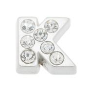 7mm Alphabet K Floating Locket Charms with Rhinestone-10pcs