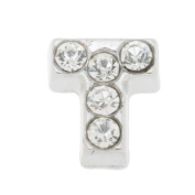7mm Letter T Floating Locket Charms with Rhinestone-10pcs