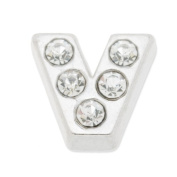 7mm Letter V Floating Locket Charms with Rhinestone-10pcs