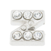 7mm Letter Z Floating Locket Charms with Rhinestone-10pcs